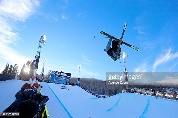 Kevin Rolland of France takes 2nd place during the Winter X Games Men's Ski Superpipe on January 25 2015 in Aspen USA