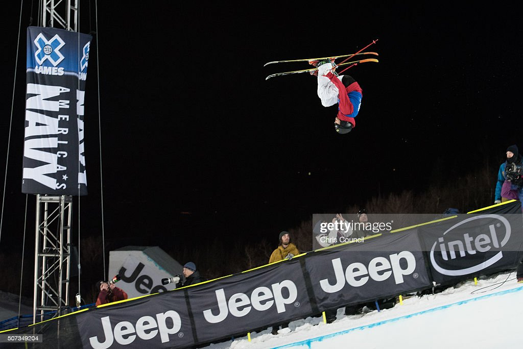 <a gi-track='captionPersonalityLinkClicked' href=/galleries/search?phrase=Kevin+Rolland&family=editorial&specificpeople=4840688 ng-click='$event.stopPropagation()'>Kevin Rolland</a> skis in his final run of the men's ski halfpipe at the Winter X Games 2016 Aspen at Buttermilk Mountain on January 28, 2016, in Aspen, Colorado. Rolland won gold on his final run after scoring 93.33.