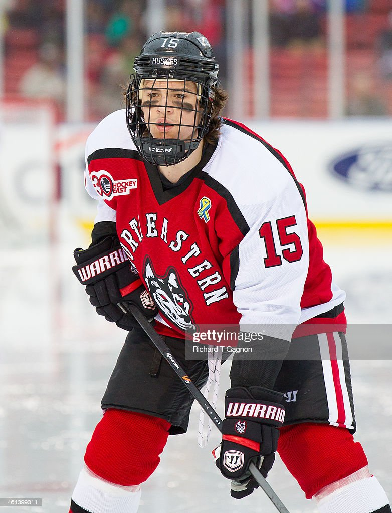 Kevin Roy #15 of the Northeastern University Huskies skates against the Massachusetts Lowell River Hawks during NCAA hockey action in the 'Citi Frozen Fenway 2014' at Fenway Park on January 11, 2014 in Boston, Massachusetts.