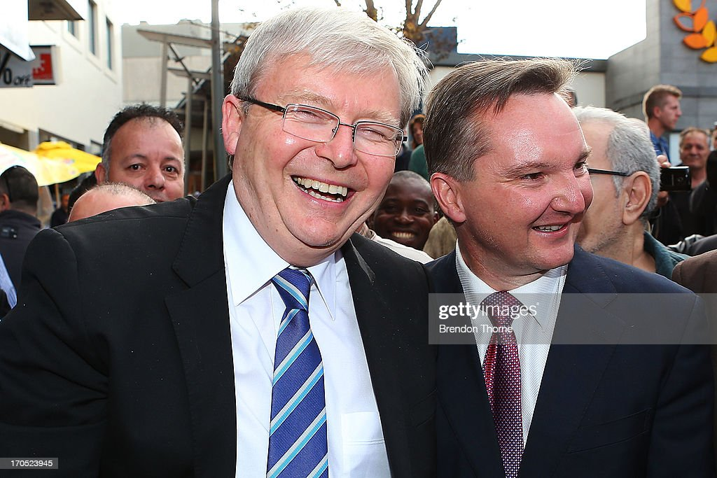 <a gi-track='captionPersonalityLinkClicked' href=/galleries/search?phrase=Kevin+Rudd&family=editorial&specificpeople=707751 ng-click='$event.stopPropagation()'>Kevin Rudd</a> and Chris Bowen greet locals in the suburb of Fairfield on June 14, 2013 in Sydney, Australia. Former Prime Minister <a gi-track='captionPersonalityLinkClicked' href=/galleries/search?phrase=Kevin+Rudd&family=editorial&specificpeople=707751 ng-click='$event.stopPropagation()'>Kevin Rudd</a> today campaigned for Labor MPs contensting key seats in Drummoyne and McMahon, amid rumours he may bid to regain Labor leadership.