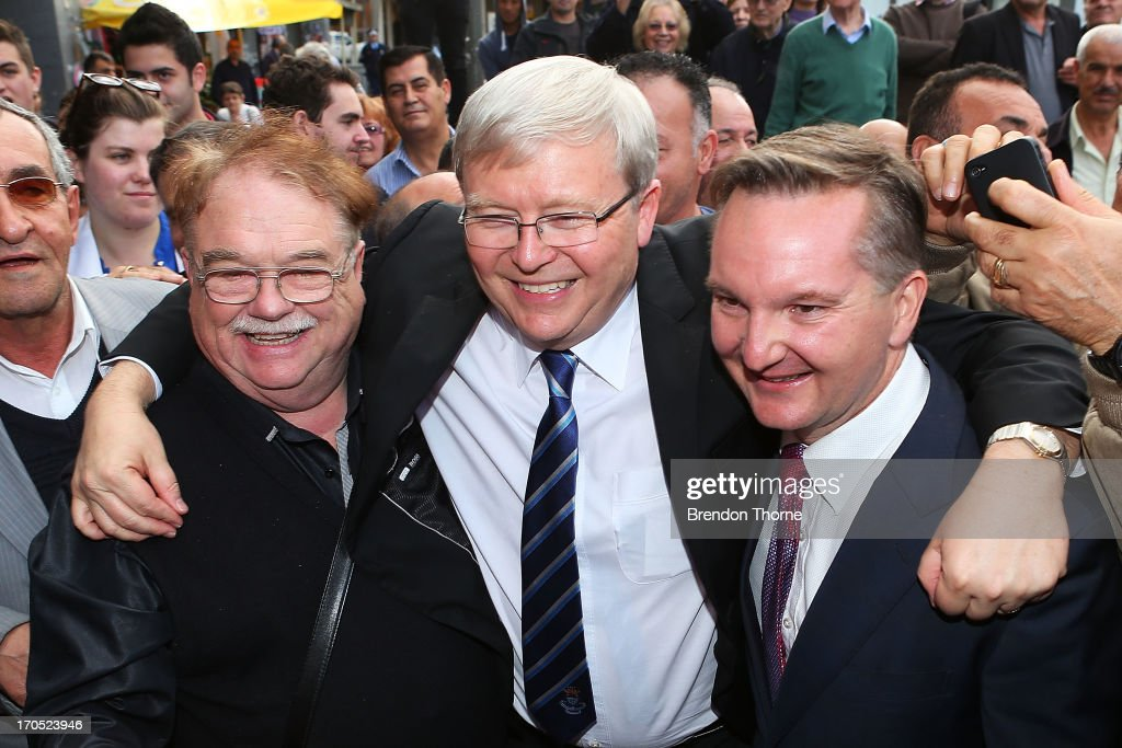 Kevin Rudd and Chris Bowen greet locals in the suburb of Fairfield on June 14, 2013 in Sydney, Australia. Former Prime Minister Kevin Rudd today campaigned for Labor MPs contensting key seats in Drummoyne and McMahon, amid rumours he may bid to regain Labor leadership.