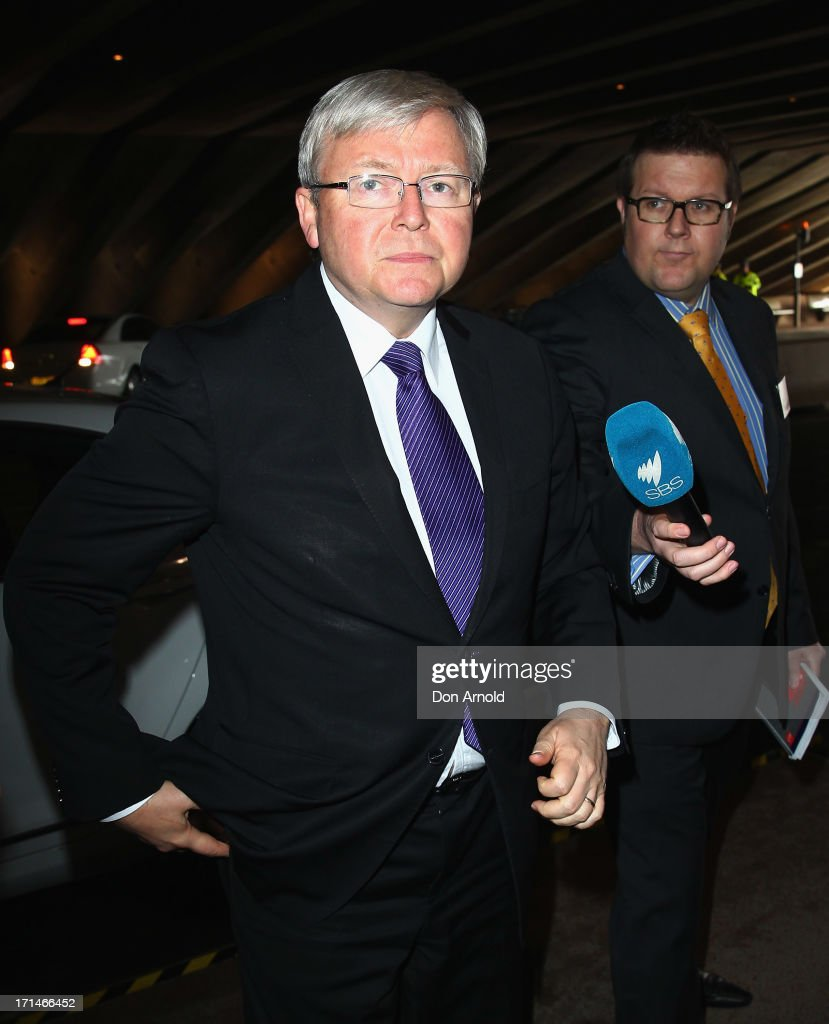 Kevin Rudd arrives at a state memorial service for the late Hazel Hawke exwife of former Australian Prime Minister Bob Hawke at the Sydney Opera...