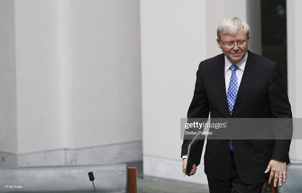 Kevin Rudd arrives during question time at Parliament House on June 26 2013 in Canberra Australia It has been reported Rudd supporters are...