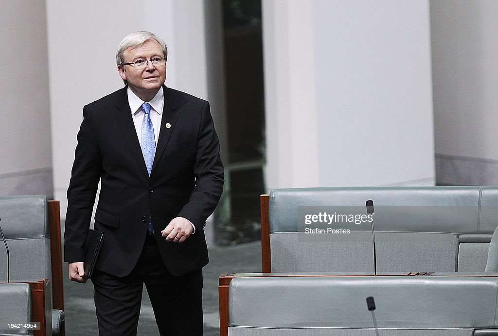 <a gi-track='captionPersonalityLinkClicked' href=/galleries/search?phrase=Kevin+Rudd&family=editorial&specificpeople=707751 ng-click='$event.stopPropagation()'>Kevin Rudd</a> arrives for House of Representatives question time on March 21, 2013 in Canberra, Australia. Australian Prime Minister Julia Gillard has called for a ballot today to decide the leader, and deputy leader of the Australian Labor Party, effectively a caucus vote that will decide the Prime Minister and Deputy Prime Minister of the country. <a gi-track='captionPersonalityLinkClicked' href=/galleries/search?phrase=Kevin+Rudd&family=editorial&specificpeople=707751 ng-click='$event.stopPropagation()'>Kevin Rudd</a> is expected to nominate for the leadership and Simon Crean for the deputy position. Rudd, who was elected Prime Minister in the 2007 election was ousted by Gillard in June 2010, who then went on to win the 2010 Federal Election in August.