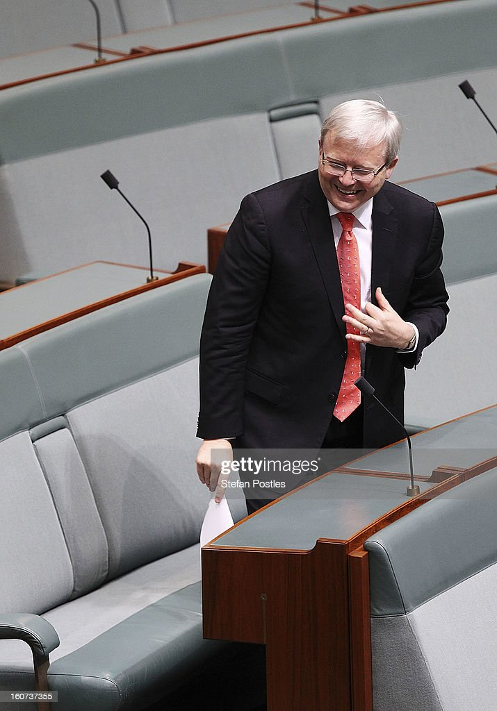 Kevin Rudd during House of Representatives question time at Parliament House on February 5, 2013 in Canberra, Australia. Parliament resumes for the first sitting of 2013 today, just days after Prime Minister Gillard, announced a federal election date of September 14, 2013.