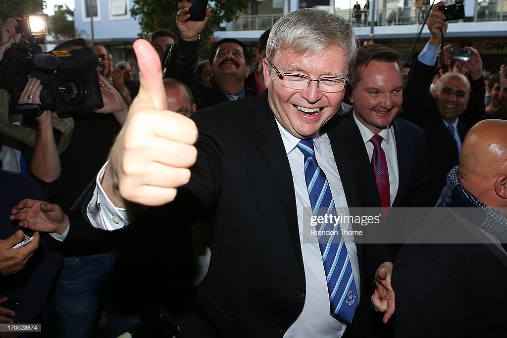 <a gi-track='captionPersonalityLinkClicked' href=/galleries/search?phrase=Kevin+Rudd&family=editorial&specificpeople=707751 ng-click='$event.stopPropagation()'>Kevin Rudd</a> gestures to locals in the suburb of Fairfield on June 14, 2013 in Sydney, Australia. Former Prime Minister <a gi-track='captionPersonalityLinkClicked' href=/galleries/search?phrase=Kevin+Rudd&family=editorial&specificpeople=707751 ng-click='$event.stopPropagation()'>Kevin Rudd</a> today campaigned for Labor MPs contensting key seats in Drummoyne and McMahon, amid rumours he may bid to regain Labor leadership.