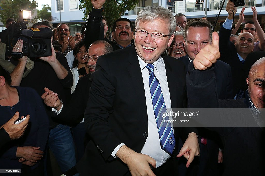<a gi-track='captionPersonalityLinkClicked' href=/galleries/search?phrase=Kevin+Rudd&family=editorial&specificpeople=707751 ng-click='$event.stopPropagation()'>Kevin Rudd</a> is mobbed by cheering locals in the suburb of Fairfield on June 14, 2013 in Sydney, Australia. Former Prime Minister <a gi-track='captionPersonalityLinkClicked' href=/galleries/search?phrase=Kevin+Rudd&family=editorial&specificpeople=707751 ng-click='$event.stopPropagation()'>Kevin Rudd</a> today campaigned for Labor MPs contensting key seats in Drummoyne and McMahon, amid rumours he may bid to regain Labor leadership.