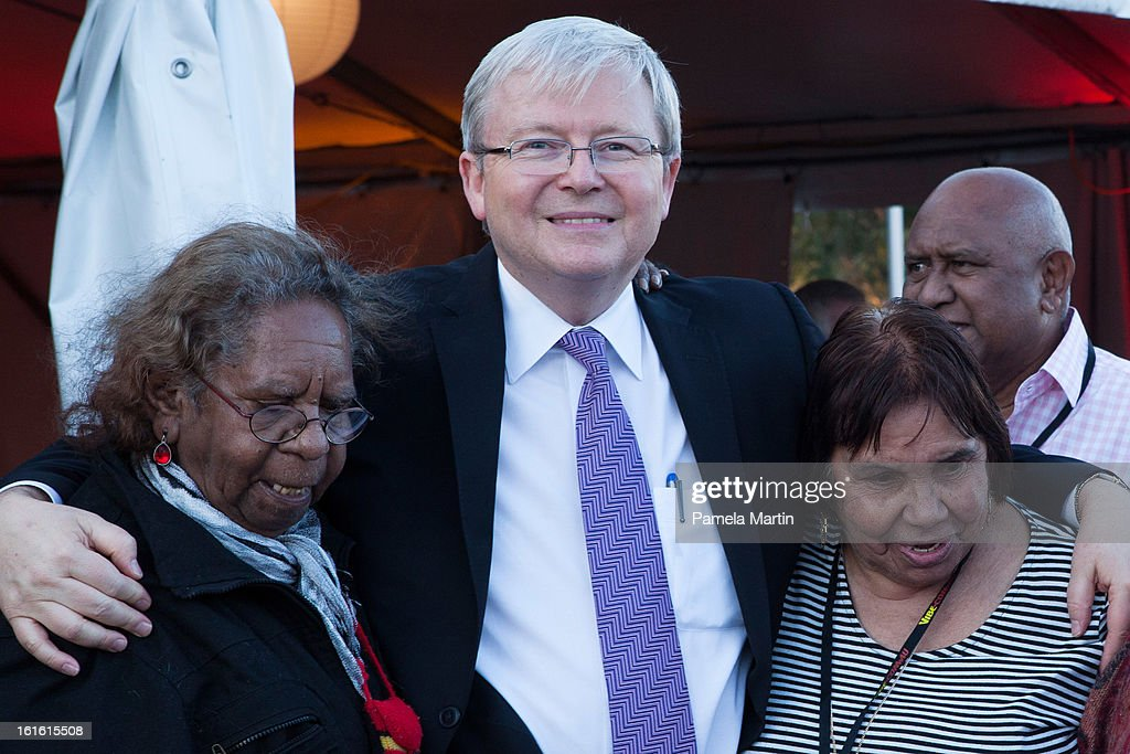 <a gi-track='captionPersonalityLinkClicked' href=/galleries/search?phrase=Kevin+Rudd&family=editorial&specificpeople=707751 ng-click='$event.stopPropagation()'>Kevin Rudd</a> is welcomed by Aboriginal Woman and children during 'The Apology - Five Years On - Heal our Past, Build our Future' at Federation Mall on February 13, 2013 in Canberra, Australia.