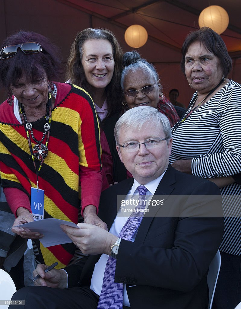 <a gi-track='captionPersonalityLinkClicked' href=/galleries/search?phrase=Kevin+Rudd&family=editorial&specificpeople=707751 ng-click='$event.stopPropagation()'>Kevin Rudd</a> is welcomed by an Aboriginal Woman during 'The Apology - Five Years On - Heal our Past, Build our Future' at Federation Mall on February 13, 2013 in Canberra, Australia.