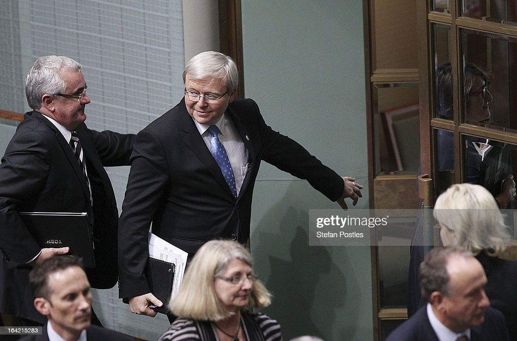 <a gi-track='captionPersonalityLinkClicked' href=/galleries/search?phrase=Kevin+Rudd&family=editorial&specificpeople=707751 ng-click='$event.stopPropagation()'>Kevin Rudd</a> leaves House of Representatives question time on March 21, 2013 in Canberra, Australia. Australian Prime Minister Julia Gillard has called for a ballot today to decide the leader, and deputy leader of the Australian Labor Party, effectively a caucus vote that will decide the Prime Minister and Deputy Prime Minister of the country. <a gi-track='captionPersonalityLinkClicked' href=/galleries/search?phrase=Kevin+Rudd&family=editorial&specificpeople=707751 ng-click='$event.stopPropagation()'>Kevin Rudd</a> is expected to nominate for the leadership and Simon Crean for the deputy position. Rudd, who was elected Prime Minister in the 2007 election was ousted by Gillard in June 2010, who then went on to win the 2010 Federal Election in August.