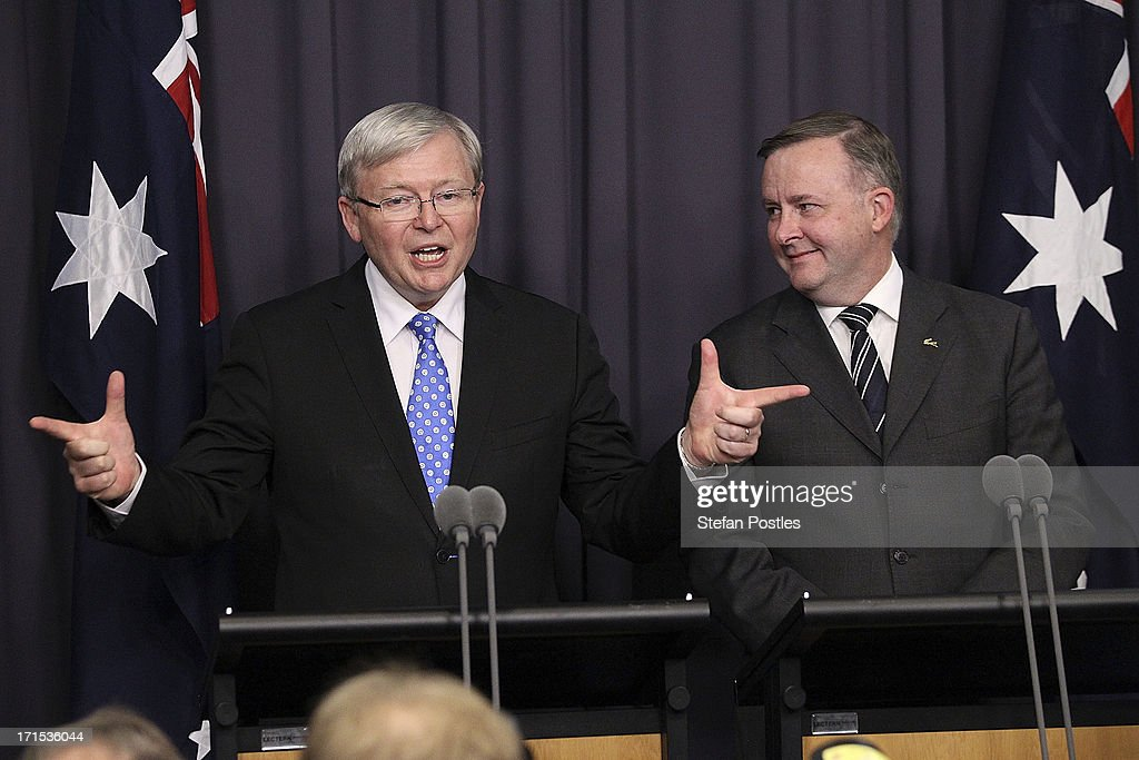 Kevin Rudd new Leader Of The ALP stands next to Anthony Albanese Minister for Infrastructure and Transport as he speaks to the media after winning...