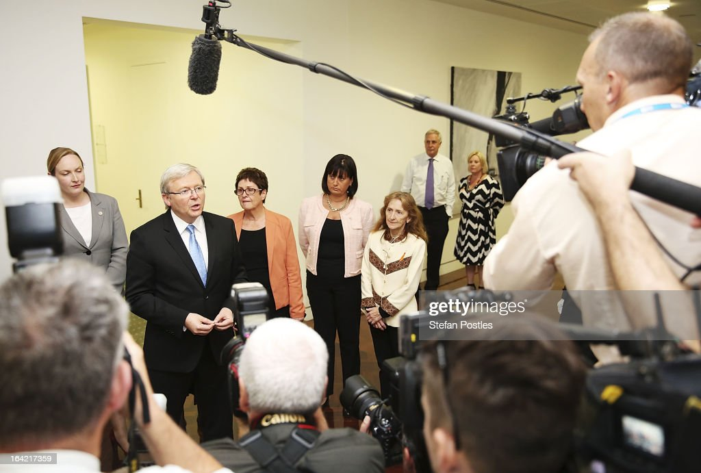 Kevin Rudd speaks to the media prior to entering the caucus meeting on March 21, 2013 in Canberra, Australia. Australian Prime Minister Julia Gillard has called for a ballot today to decide the leader, and deputy leader of the Australian Labor Party, effectively a caucus vote that will decide the Prime Minister and Deputy Prime Minister of the country. In a surprise turn of events only the incumbents nominated for the positions, so Julia Gillard remains Prime Minister and Wayne Swan stays in the role of Deputy Prime Minister.