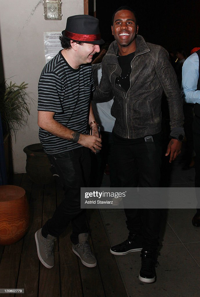 Kevin Rudolf talks with Jason Derulo during the 'Future History' album preview party at The Jimmy At The James Hotel on August 10 2011 in New York...