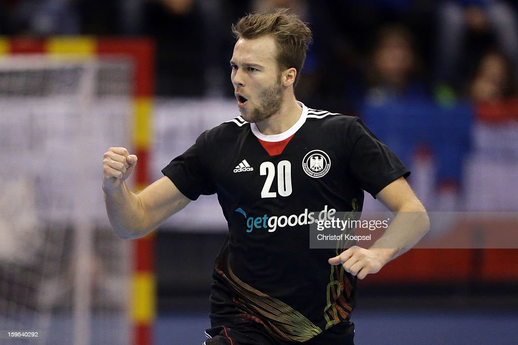 Kevin Schmidt of Germany celebrates a goal during the premilary group A match between Germany and Argentina at Palacio de Deportes de Granollers on January 15, 2013 in Granollers, Spain. The match betwwen germany and Argentina ended 31-27.