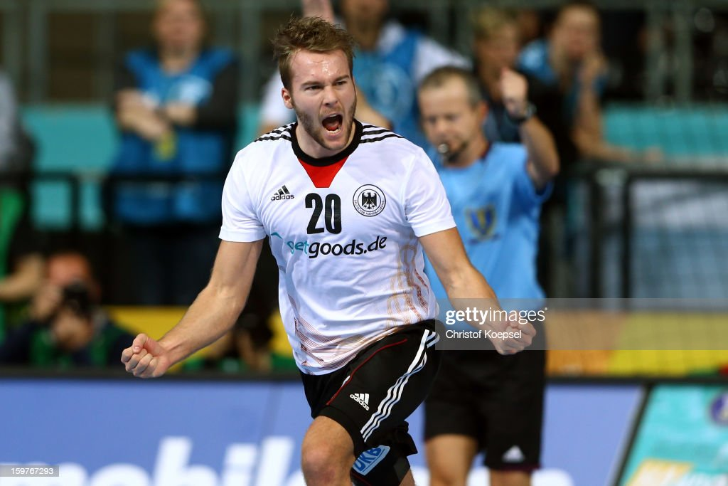 Kevin Schmidt of Germany celebrates a goal during the round of sixteen match between Germany and Macedonia at Palau Sant Jordi on January 20, 2013 in Barcelona, Spain.