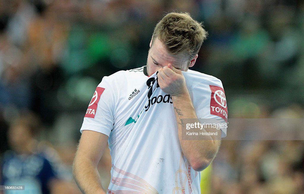Kevin Schmidt of Germany reacts during the match between Germany and Bundesliga All Stars on February 2, 2013 in Leipzig, Germany.
