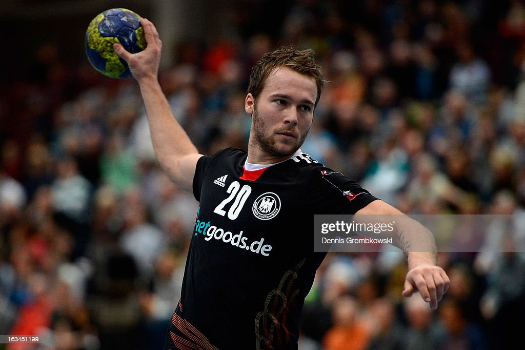 Kevin Schmidt of Germany throws the ball during the DHB International Friendly match between Germany and Switzerland at Conlog-Arena on March 10, 2013 in Koblenz am Rhein, Germany.