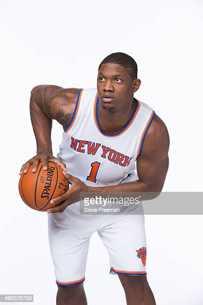 Kevin Seraphin of the New York Knicks poses for a portrait at Media Day at the MSG Training Facility in Greenburgh New York on September 28 2015 NOTE...