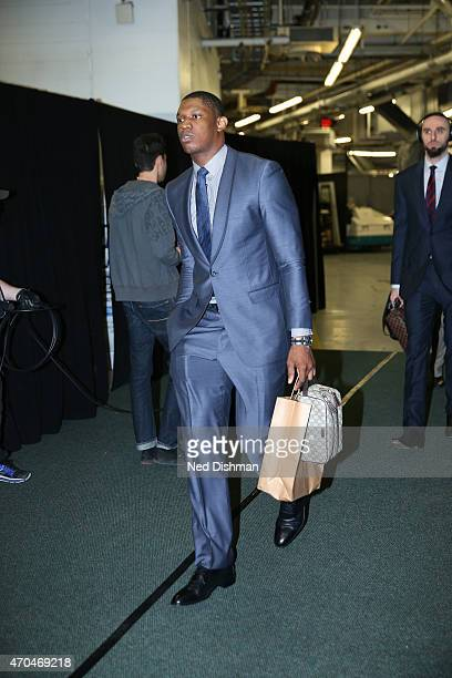 Kevin Seraphin of the Washington Wizards arrives at the arena before a game against the Toronto Raptors in Game One of the Eastern Conference...