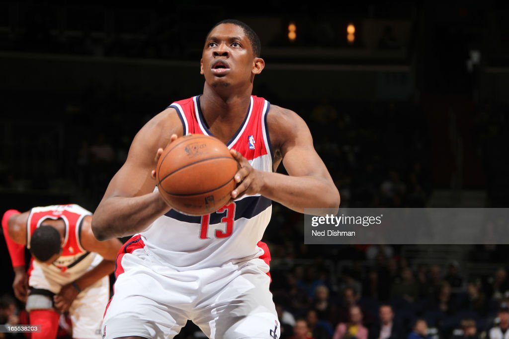 <a gi-track='captionPersonalityLinkClicked' href=/galleries/search?phrase=Kevin+Seraphin&family=editorial&specificpeople=6474998 ng-click='$event.stopPropagation()'>Kevin Seraphin</a> #13 of the Washington Wizards attempts a foul shot against the Toronto Raptors at the Verizon Center on March 31, 2013 in Washington, DC.