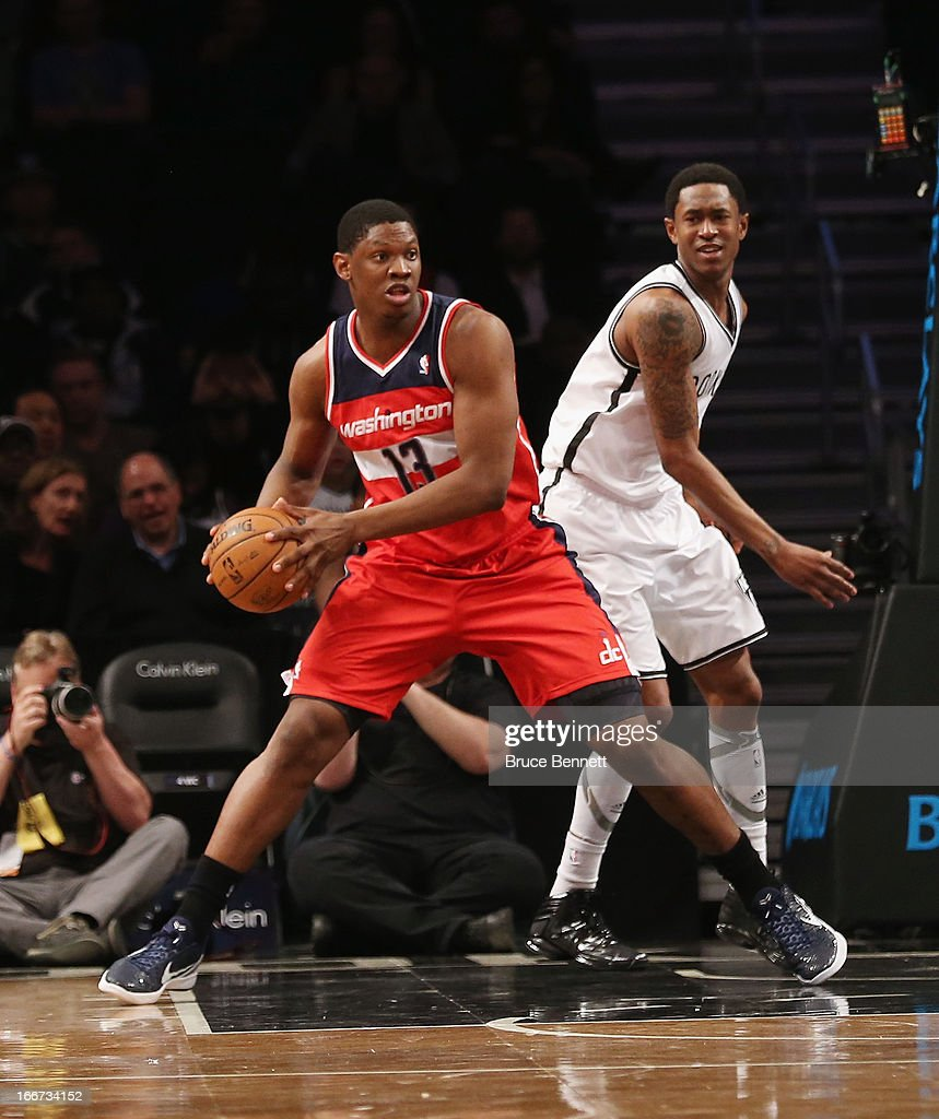 Kevin Seraphin #13 of the Washington Wizards dribbles the ball against the Brooklyn Nets at the Barclays Center on April 15, 2013 in New York City. The Nets defeated the Washington Wizards 106-101.