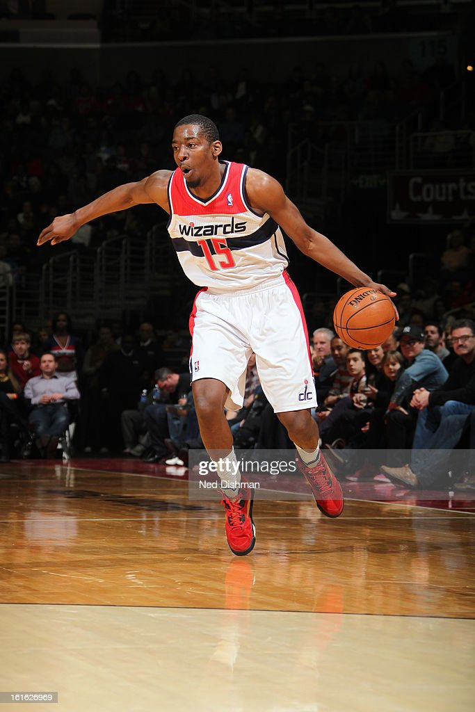 Kevin Seraphin #13 of the Washington Wizards drives to the basket against the Chicago Bulls at the Verizon Center on January 26, 2013 in Washington, DC.