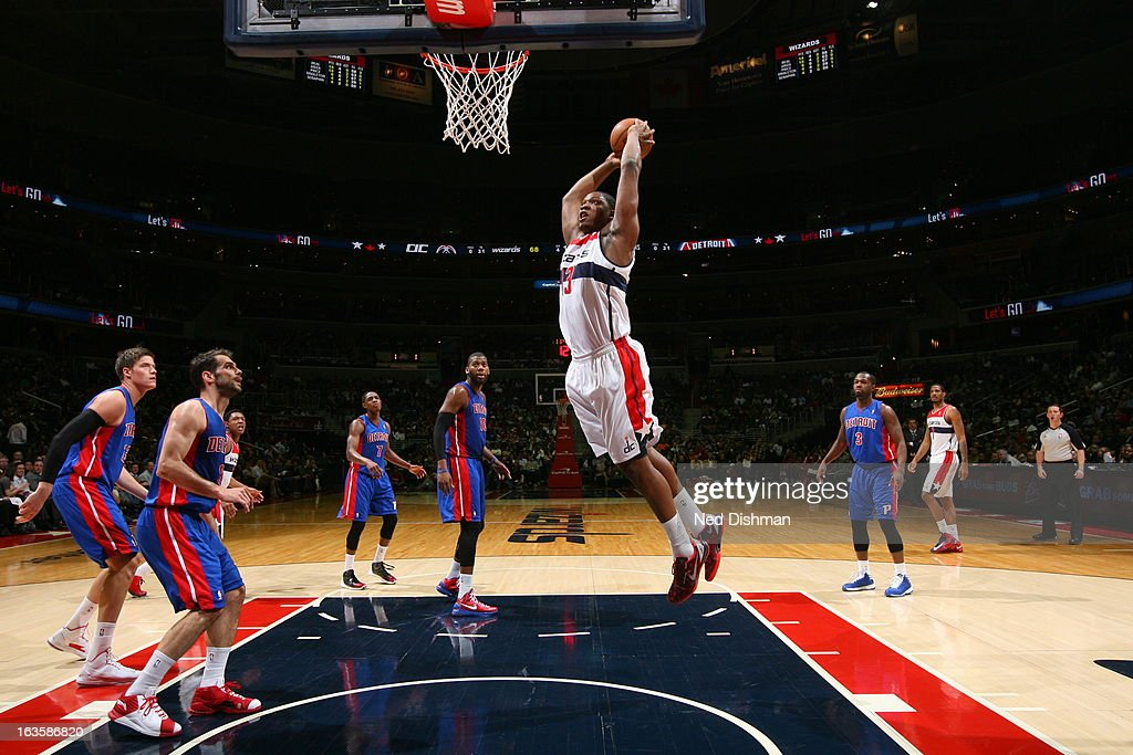 <a gi-track='captionPersonalityLinkClicked' href=/galleries/search?phrase=Kevin+Seraphin&family=editorial&specificpeople=6474998 ng-click='$event.stopPropagation()'>Kevin Seraphin</a> #13 of the Washington Wizards dunks against the Detroit Pistons at the Verizon Center on February 27, 2013 in Washington, DC.