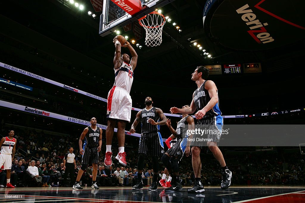 <a gi-track='captionPersonalityLinkClicked' href=/galleries/search?phrase=Kevin+Seraphin&family=editorial&specificpeople=6474998 ng-click='$event.stopPropagation()'>Kevin Seraphin</a> #13 of the Washington Wizards dunks the ball against the Orlando Magic at the Verizon Center on January 14, 2013 in Washington, DC.