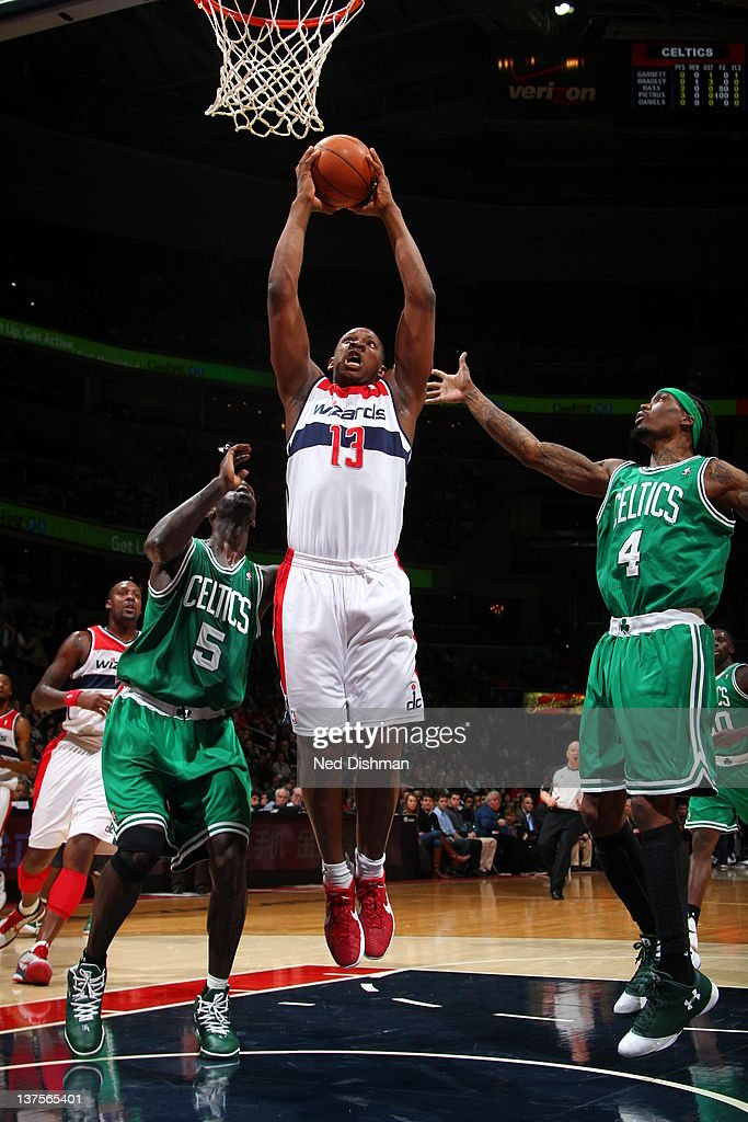 <a gi-track='captionPersonalityLinkClicked' href=/galleries/search?phrase=Kevin+Seraphin&family=editorial&specificpeople=6474998 ng-click='$event.stopPropagation()'>Kevin Seraphin</a> #13 of the Washington Wizards during the game between the Washington Wizards and the Boston Celtics at the Verizon Center on January 22, 2012 in Washington, DC.