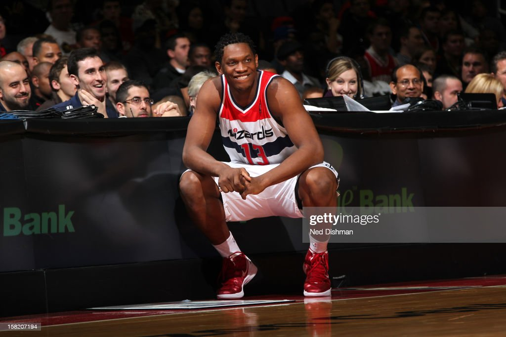 <a gi-track='captionPersonalityLinkClicked' href=/galleries/search?phrase=Kevin+Seraphin&family=editorial&specificpeople=6474998 ng-click='$event.stopPropagation()'>Kevin Seraphin</a> #13 of the Washington Wizards looka on during the game against the Golden State Warriors on December 8, 2012 at the Verizon Center in Washington, DC.