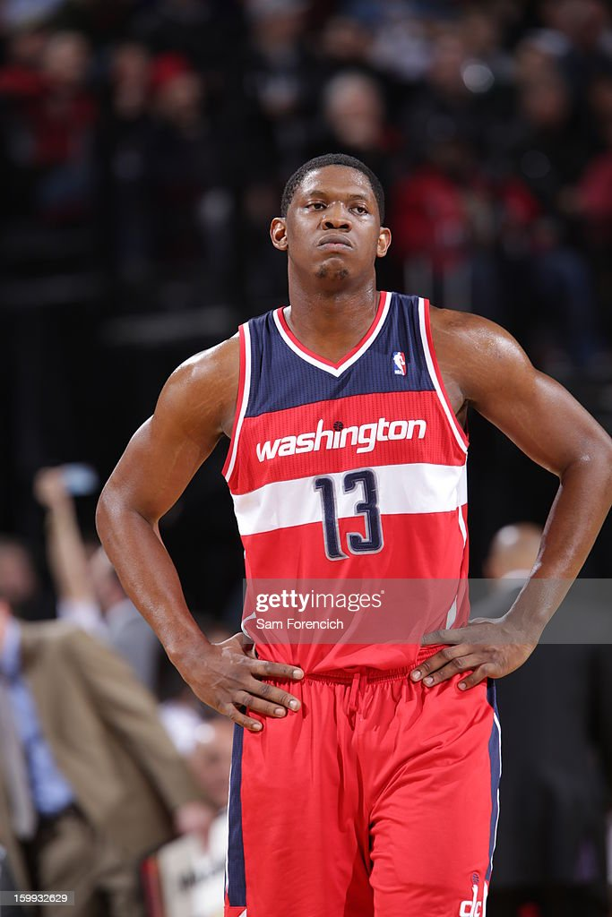 <a gi-track='captionPersonalityLinkClicked' href=/galleries/search?phrase=Kevin+Seraphin&family=editorial&specificpeople=6474998 ng-click='$event.stopPropagation()'>Kevin Seraphin</a> #13 of the Washington Wizards reacts to a play in the game against the Portland Trail Blazers on January 21, 2013 at the Rose Garden Arena in Portland, Oregon.