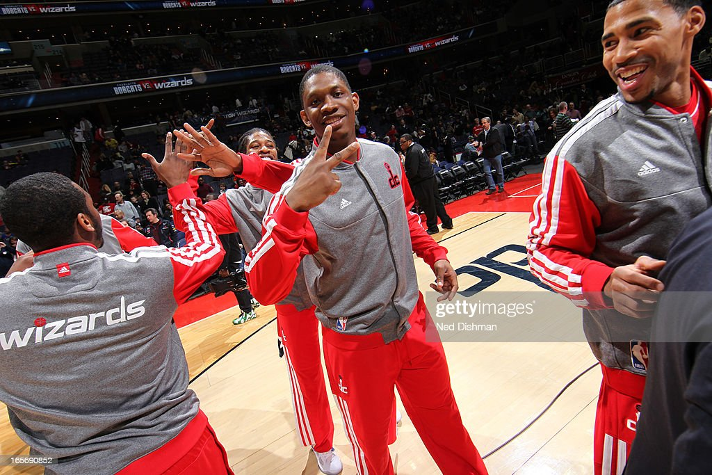 <a gi-track='captionPersonalityLinkClicked' href=/galleries/search?phrase=Kevin+Seraphin&family=editorial&specificpeople=6474998 ng-click='$event.stopPropagation()'>Kevin Seraphin</a> #13 of the Washington Wizards runs out before the game against the Charlotte Bobcats at the Verizon Center on March 9, 2013 in Washington, DC.