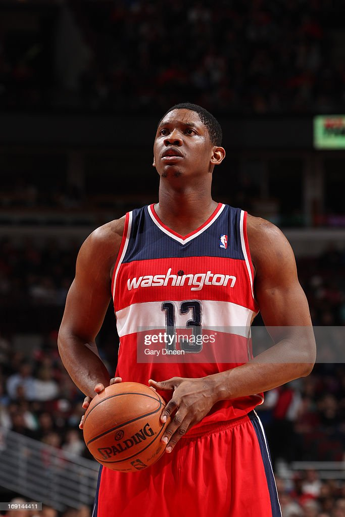 Kevin Seraphin #13 of the Washington Wizards shoots a free throw during the game against the Chicago Bulls on April 17, 2013 at the United Center in Chicago, Illinois.