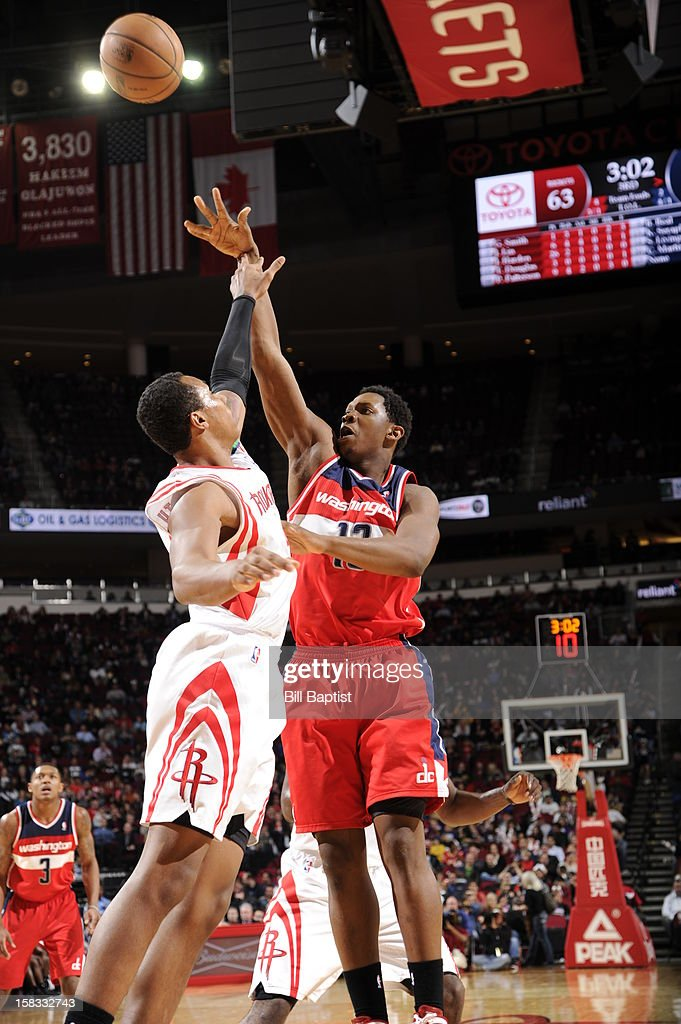 <a gi-track='captionPersonalityLinkClicked' href=/galleries/search?phrase=Kevin+Seraphin&family=editorial&specificpeople=6474998 ng-click='$event.stopPropagation()'>Kevin Seraphin</a> #13 of the Washington Wizards shoots against the Houston Rockets on December 12, 2012 at the Toyota Center in Houston, Texas.