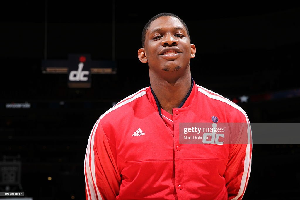 <a gi-track='captionPersonalityLinkClicked' href=/galleries/search?phrase=Kevin+Seraphin&family=editorial&specificpeople=6474998 ng-click='$event.stopPropagation()'>Kevin Seraphin</a> #13 of the Washington Wizards stands on the court during the game against the Toronto Raptors at the Verizon Center on February 19, 2013 in Washington, DC.
