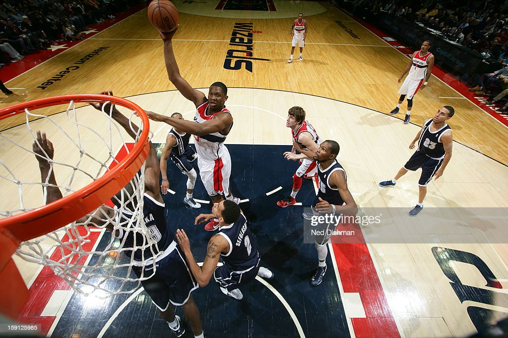 <a gi-track='captionPersonalityLinkClicked' href=/galleries/search?phrase=Kevin+Seraphin&family=editorial&specificpeople=6474998 ng-click='$event.stopPropagation()'>Kevin Seraphin</a> #13 of the Washington Wizards takes a hook shot against the Oklahoma City Thunder at the Verizon Center on January 7, 2013 in Washington, DC.