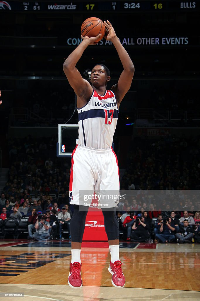 <a gi-track='captionPersonalityLinkClicked' href=/galleries/search?phrase=Kevin+Seraphin&family=editorial&specificpeople=6474998 ng-click='$event.stopPropagation()'>Kevin Seraphin</a> #13 of the Washington Wizards takes a shot against the Chicago Bulls at the Verizon Center on January 26, 2013 in Washington, DC.