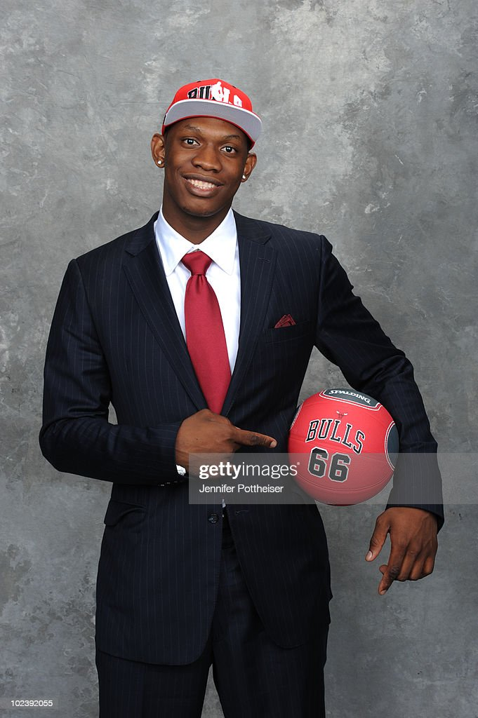 Kevin Seraphin, selected number seventeen by the Chicago Bulls poses for a portrait during the 2010 NBA Draft at The WaMu Theatre at Madison Square Garden on June 24, 2010 in New York City.