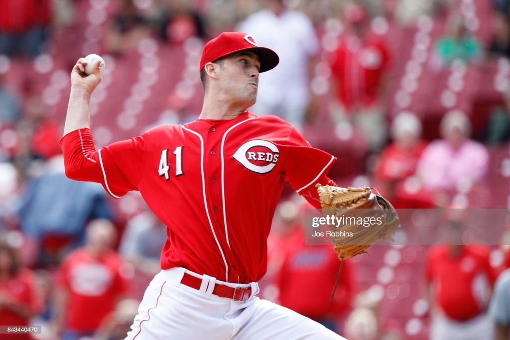 Kevin Shackelford #41 of the Cincinnati Reds pitches in the ninth inning of a game against the Milwaukee Brewers at Great American Ball Park on September 6, 2017 in Cincinnati, Ohio. The Reds defeated the Brewers 7-1.