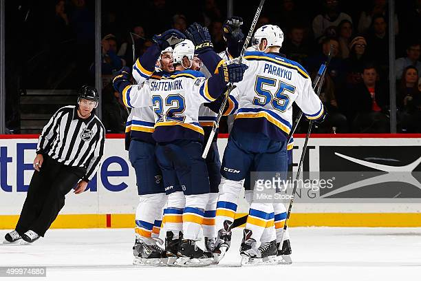 Kevin Shattenkirk and Colton Parayko of the St Louis Blues celebrate Kevin Shattenkirk's first period goal during the game against the New York...