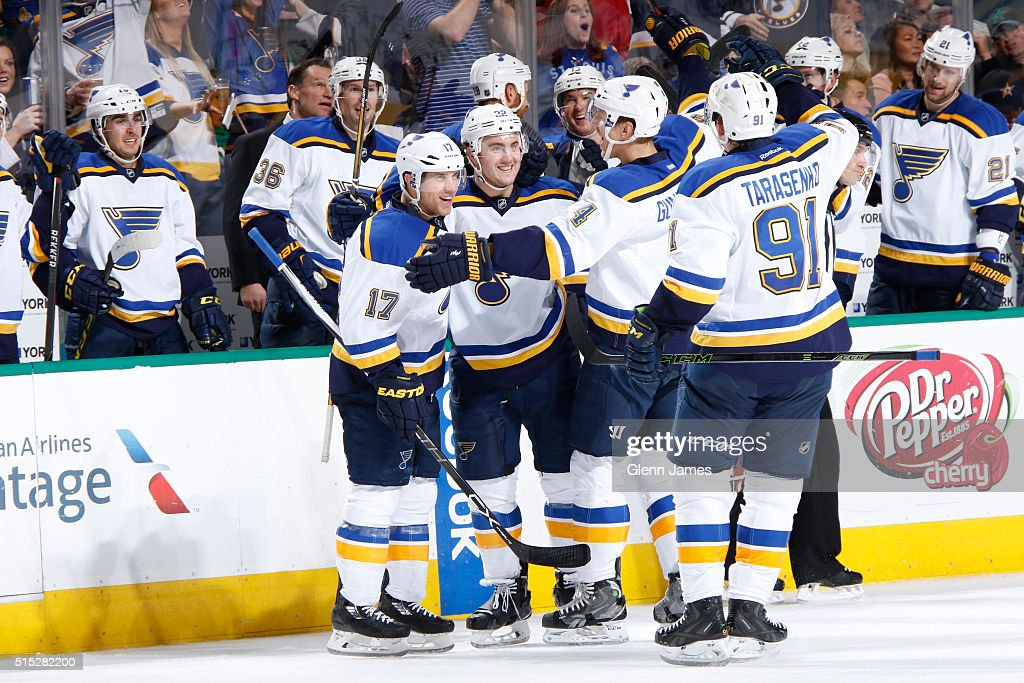 Kevin Shattenkirk Jaden Schwartz Carl Gunnarsson and Vladimir Terasenko of the St Louis Blues celebrate a goal against the Dallas Stars at the...