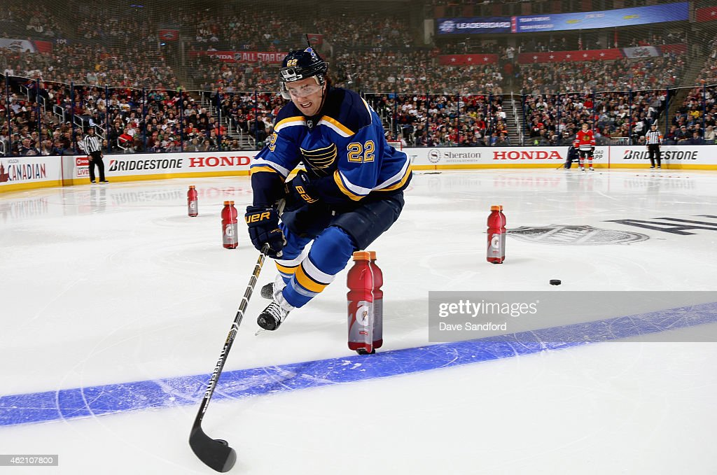 Kevin Shattenkirk of the St Louis Blues and Team Foligno competes in the Gatorade NHL Skills Challenge Relay event of the 2015 Honda NHL AllStar...