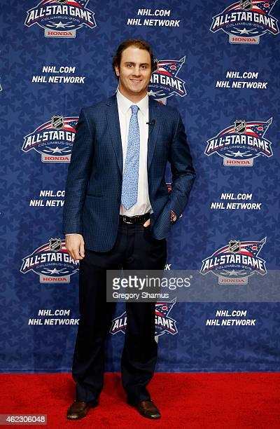 Kevin Shattenkirk of the St Louis Blues and Team Foligno poses on the red carpet for the 2015 NHL AllStar Weekend at Nationwide Arena on January 24...