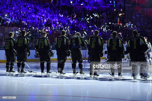 Kevin Shattenkirk of the St Louis Blues and Team Foligno Ryan Johansen of the Columbus Blue Jackets and Team Foligno Radim Vrbata of the Vancouver...
