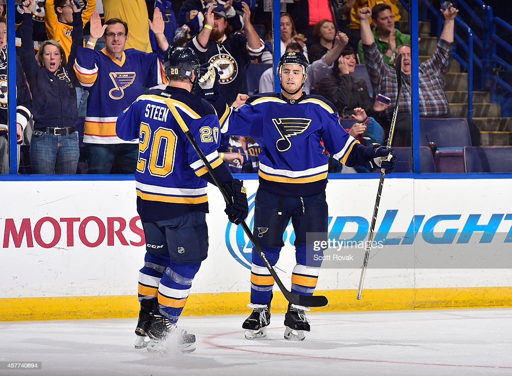 Kevin Shattenkirk of the St Louis Blues celebrates a goal with Alexander Steen during a game against the Vancouver Canucks on October 23 2014 at...