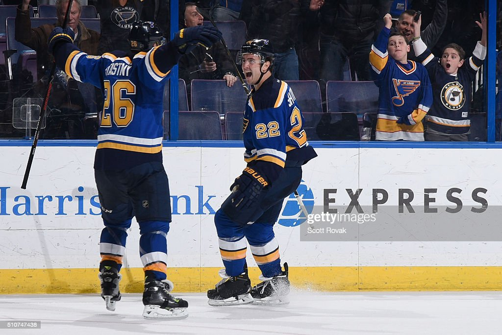 Kevin Shattenkirk of the St Louis Blues celebrates after scoring the gamewinning goal against the Dallas Starsat the Scottrade Center on February 16...