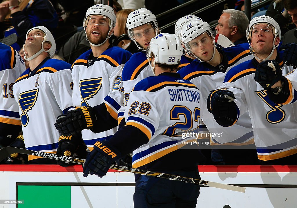 Kevin Shattenkirk of the St Louis Blues celebrates his goal against the Colorado Avalanche to tie the score 11 in the first period at Pepsi Center on...