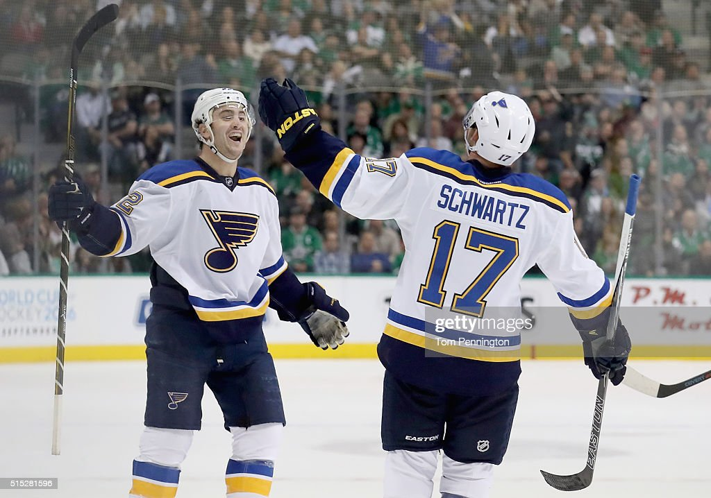 Kevin Shattenkirk of the St Louis Blues celebrates with Jaden Schwartz of the St Louis Blues after scoring a goal against the Dallas Stars in the...