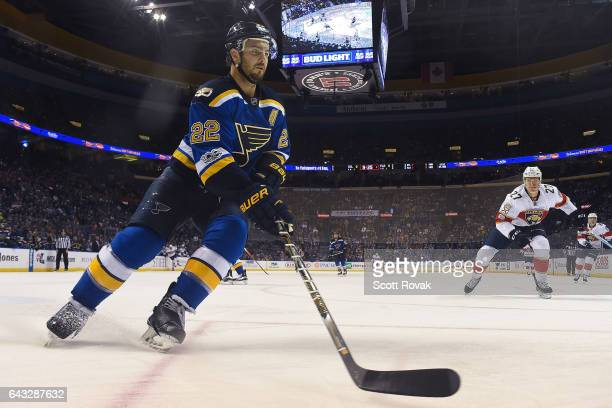 Kevin Shattenkirk of the St Louis Blues controls the puck against the Florida Panthers on February 20 2017 at Scottrade Center in St Louis Missouri