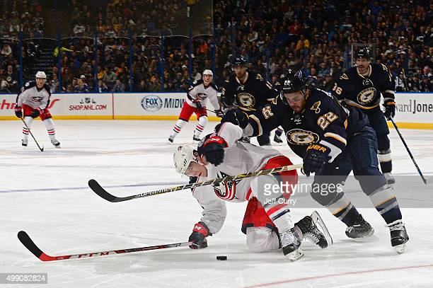 Kevin Shattenkirk of the St Louis Blues defends against Matt Calvert of the Columbus Blue Jackets on November 28 2015 at Scottrade Center in St Louis...